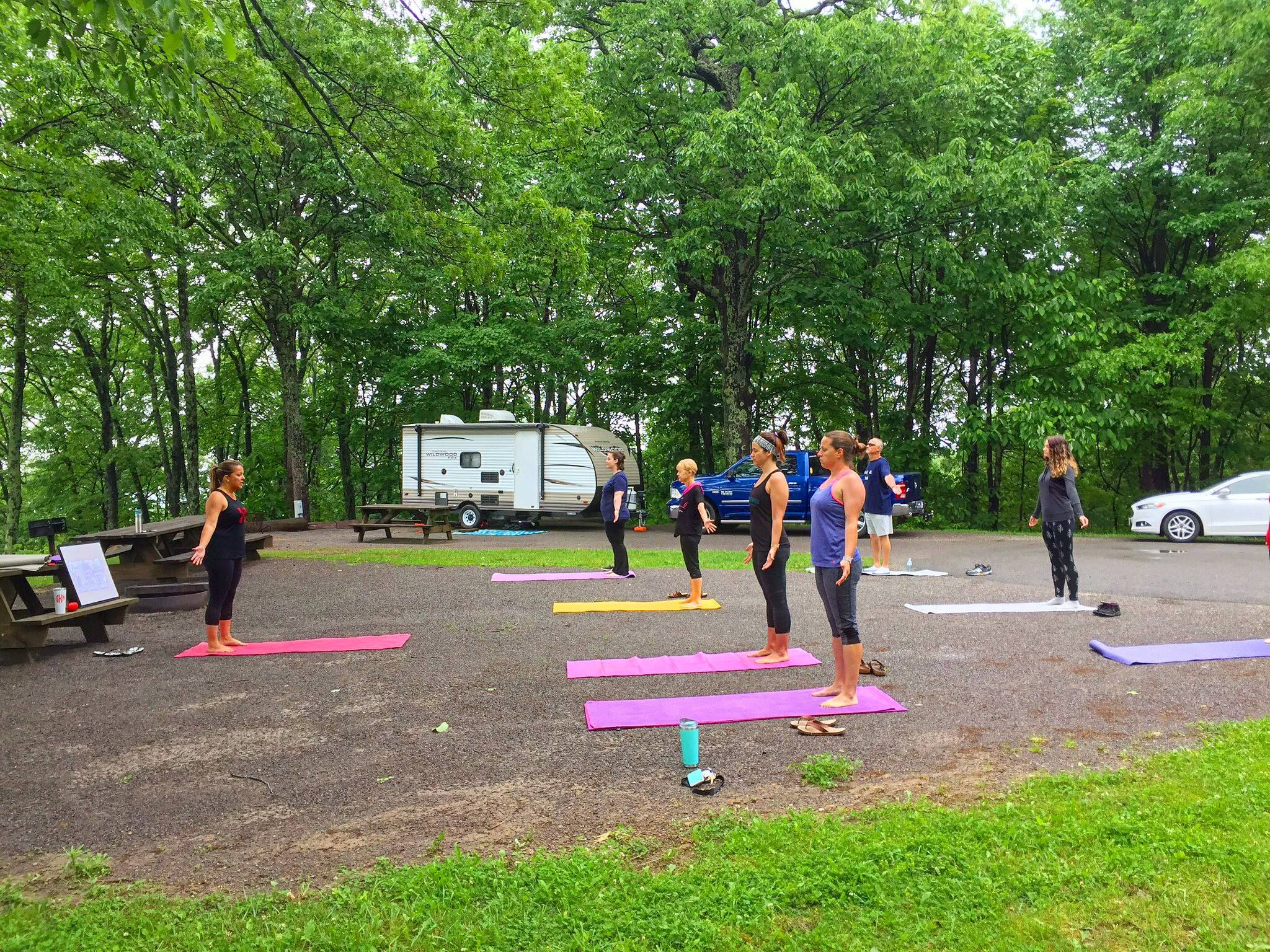 Photo of a yoga class at Flag Rock Recreation Area