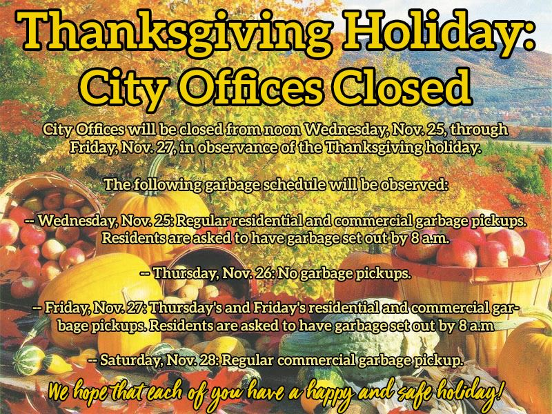 Flyer announcing city office closures due to Thanksgiving holiday