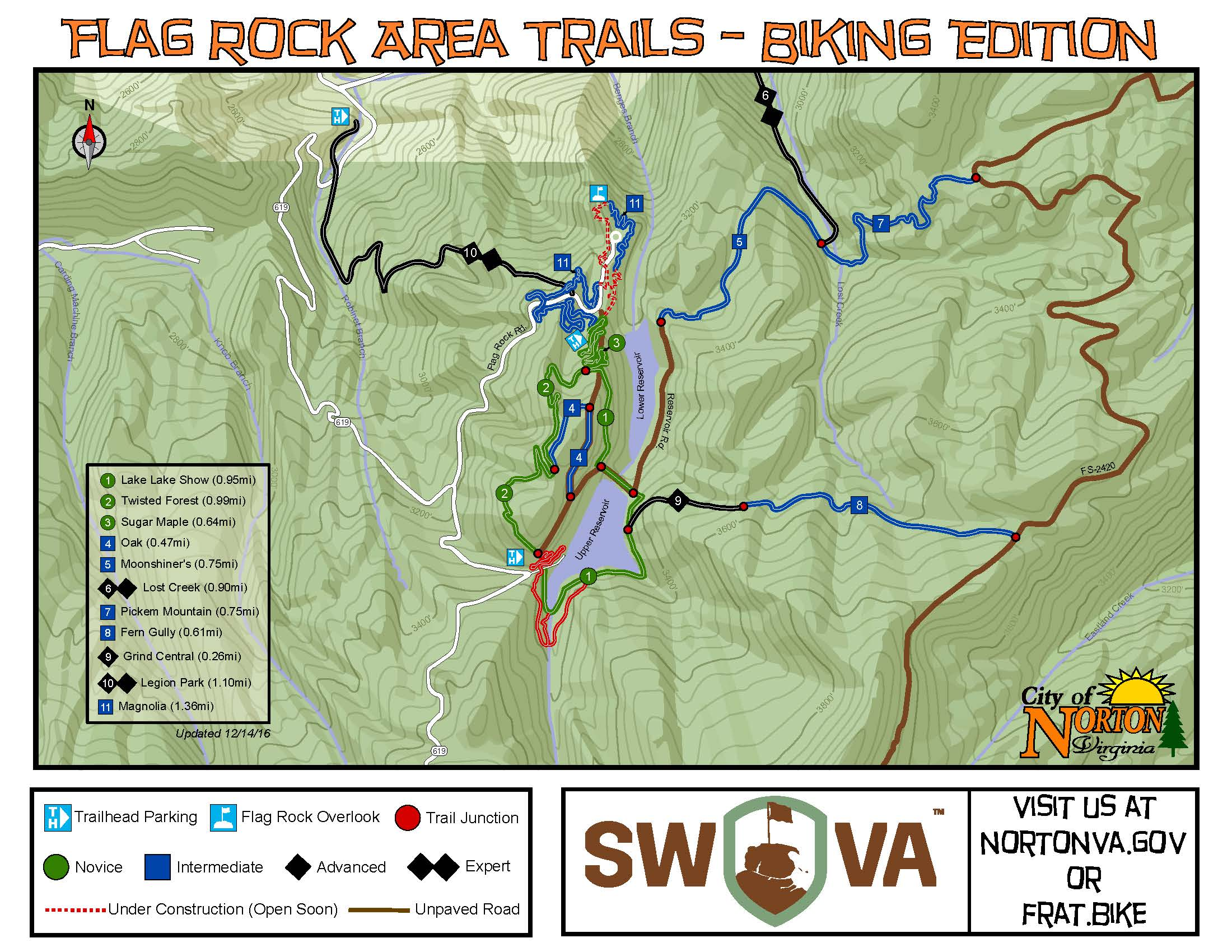 Map of Flag Rock Area Trails