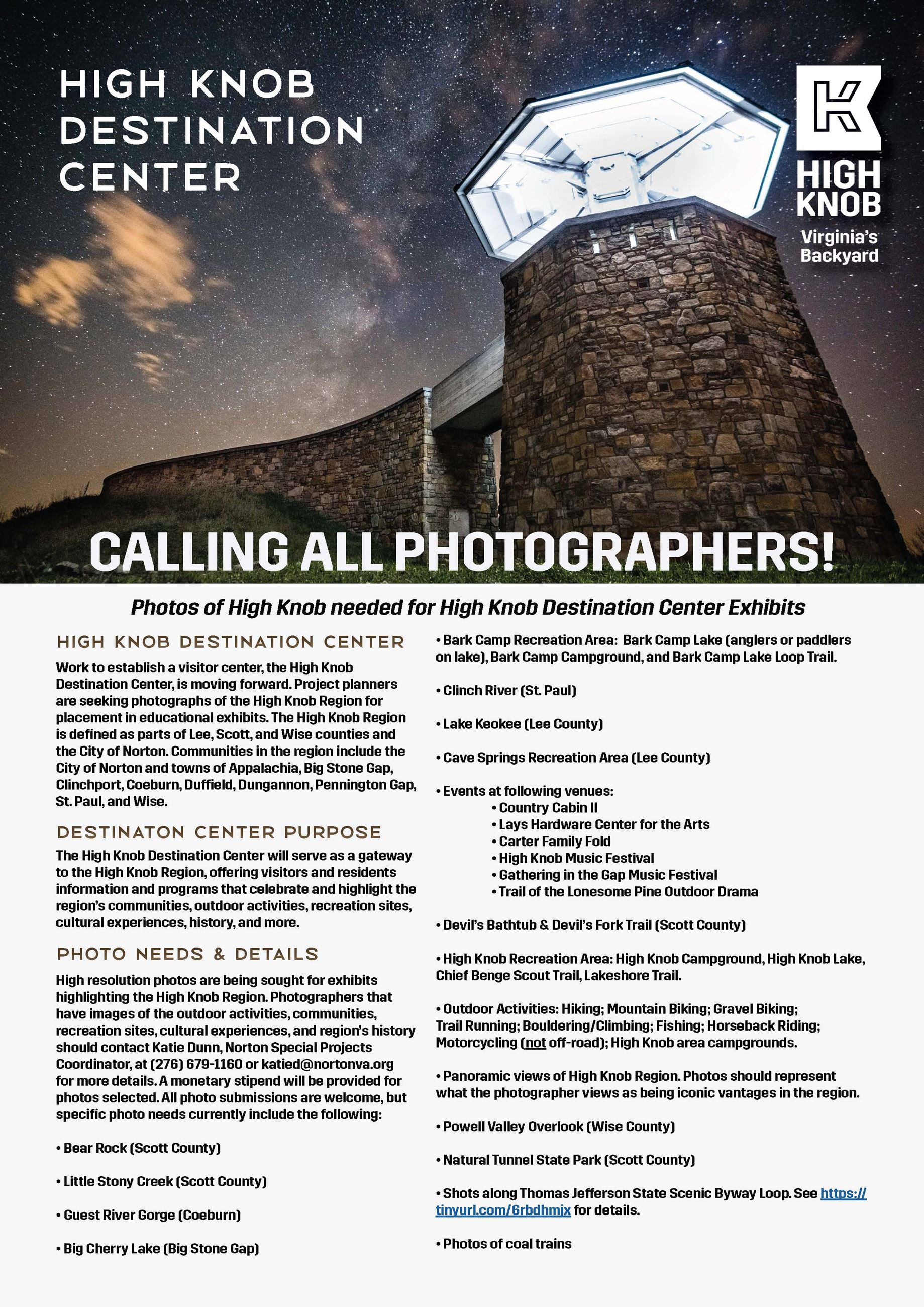 Photo of High Knob Destination Center Photographer Flyer