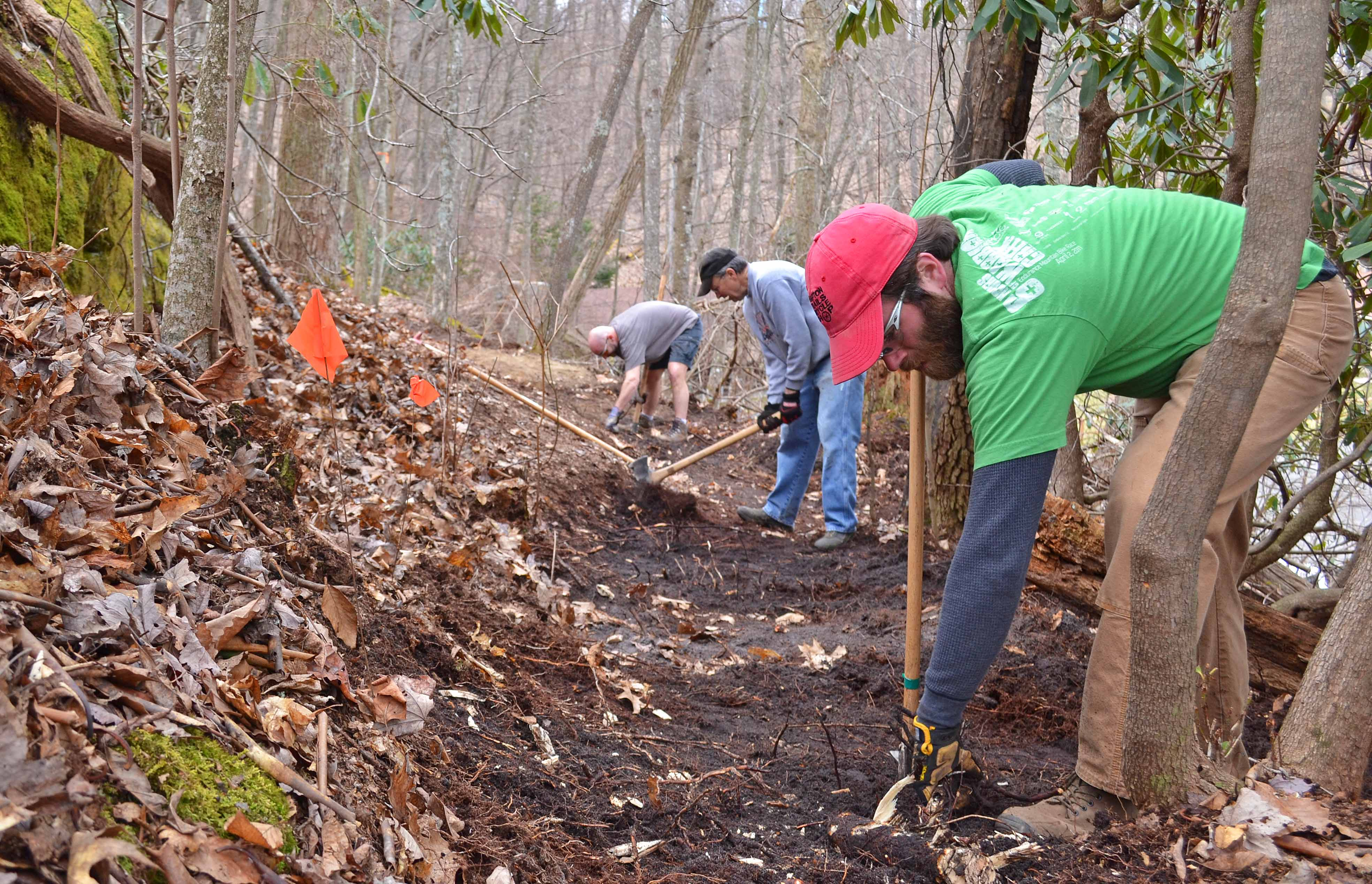 Photo of volunteers doing trail work