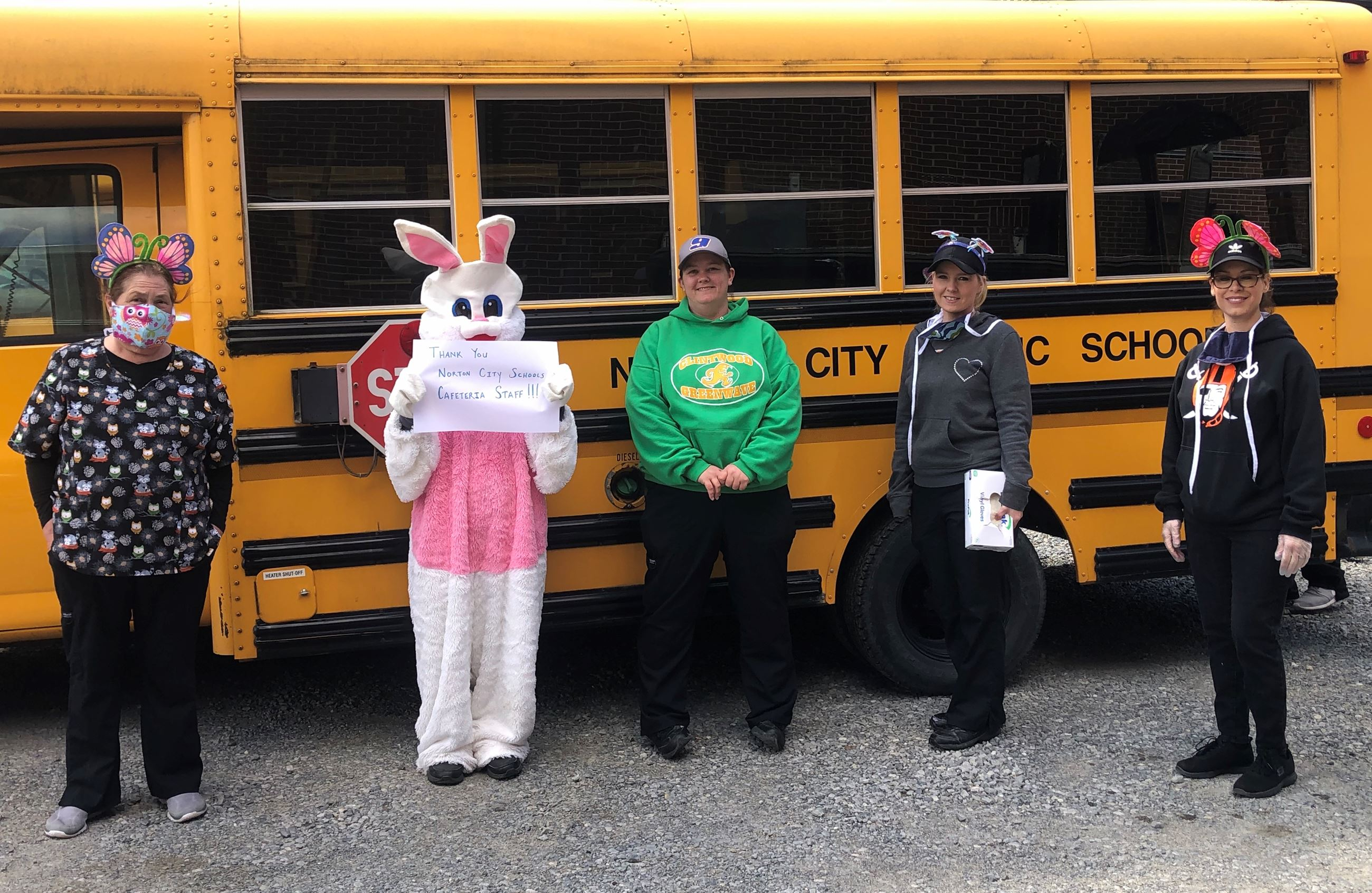 Photo of Easter Bunny and Norton Elementary staff