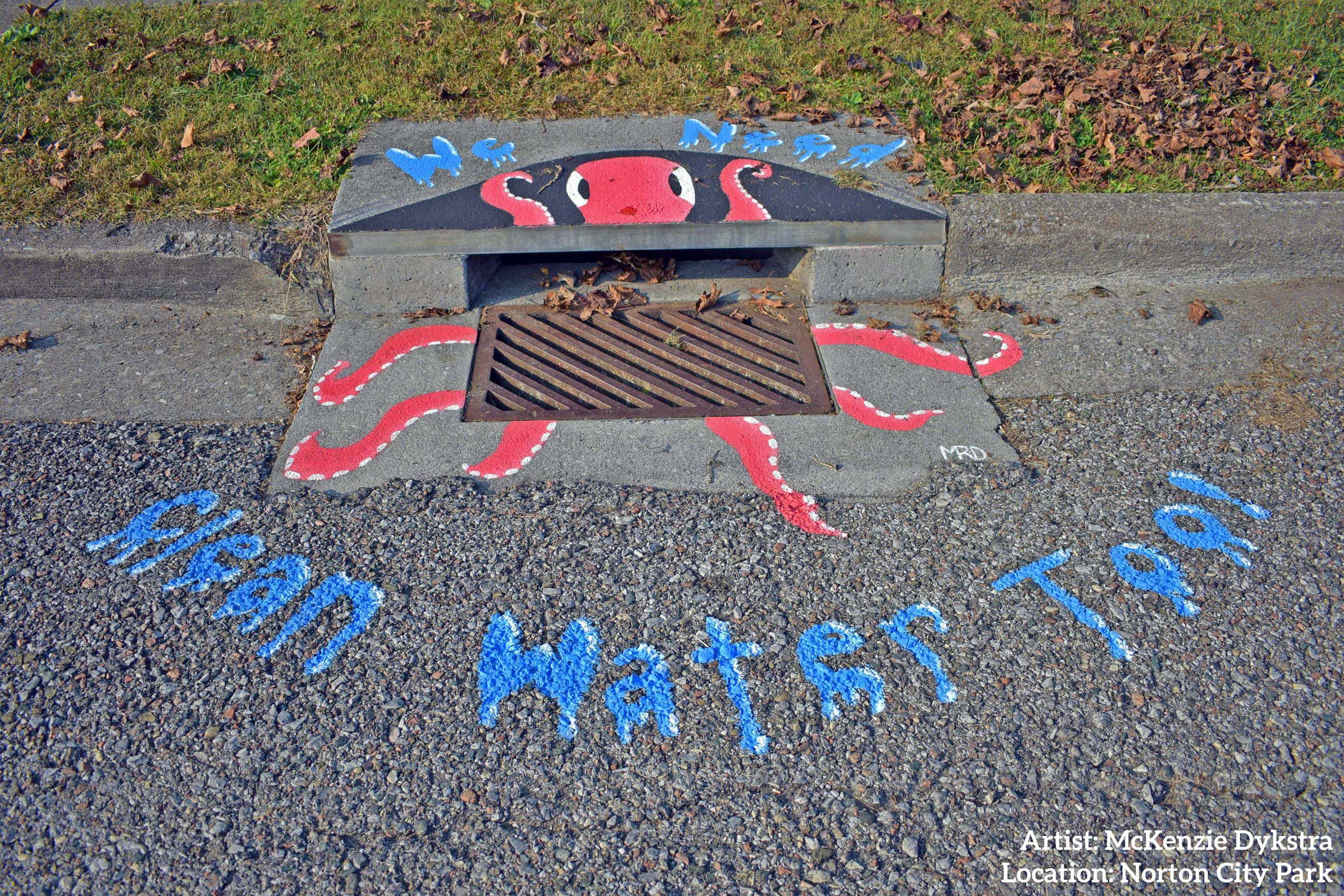 Photo of storm drain artwork